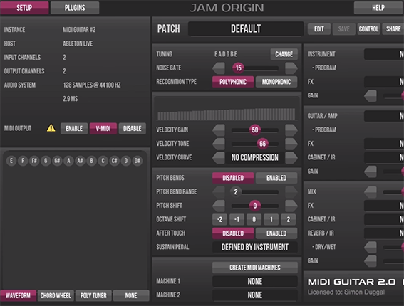 How to Set Up Jam Origin Midi Guitar 2 in Ableton Live