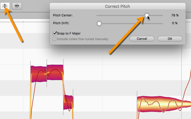 Making skilful use of the Correct Pitch Macro in Melodyne
